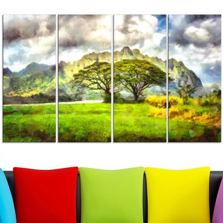 Design Art 'Surreal Colorful Landscape' 38 x 28-inch 4-panel Canvas Art Print