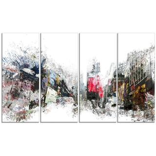 Design Art 'City Never Sleeps' 48 x 28-inch 4-panel Cityscape Canvas Art Print