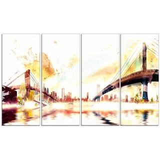 Design Art 'Golden Bridges' 48 x 28-inch 4-panel Cityscape Canvas Art Print