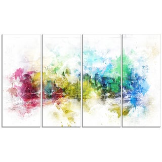 Design Art 'Vivid Colors' 48 x 28-inch 4-panel Cityscape Canvas Art Print