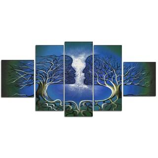 Design Art 'Man Meets Woman' 60 x 32-inch 5-panel Canvas Art Print