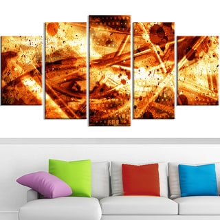 Design Art 'Signs of Life' 60 x 32-inch 5-panel Abstract Canvas Art Print