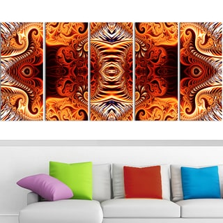Design Art 'Gold and Silver Reflection' 60 x 28-inch 5-panel Modern Canvas Art Print