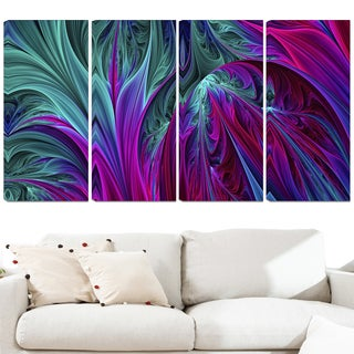 Design Art 'Purple and Green Jungle' 48 x 28-inch 4-panel Modern Canvas Art Print