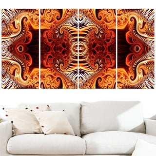 Design Art 'Gold and Silver Reflection' 48 x 28-inch 4-panel Modern Canvas Art Print