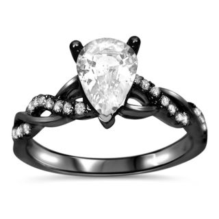 Noori 14k Black Gold 1/5ct TDW Diamond and Pear-cut White Sapphire Engagement Ring (G-H, SI1-SI2)