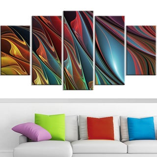 Design Art 'Leaves of Color' 60 x 32-inch 5-panel Modern Canvas Art Print
