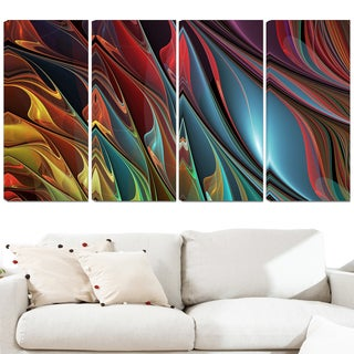 Design Art 'Leaves of Color' 48 x 28-inch 4-panel Modern Canvas Art Print
