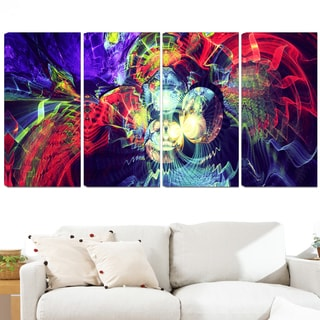 Design Art 'Color Collision' 48 x 28-inch 4-panel Modern Canvas Art Print