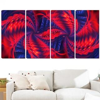 Design Art 'Red and Purple Pinwheels' 48 x 28-inch 4-panel Modern Canvas Art Print