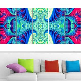 Design Art 'Peaceful Mantra' 60 x 28-inch 5-panel Modern Canvas Art Print