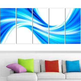 Design Art 'Peaceful Blue Flowing Through' 60 x 28-inch 5-panel Modern Canvas Art Print