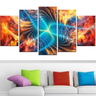 Design Art 'Orange and Blue Turbine' 60 x 32-inch 5-panel Modern Canvas Art Print