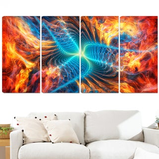 Design Art 'Orange and Blue Turbine' 48 x 28-inch 4-panel Modern Canvas Art Print