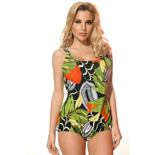 Dippin' Daisy's Missy Plus Size Green and Orange Jungle Boy-cut One-piece Bathing Suit