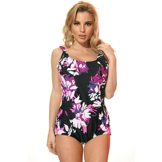 Dippin' Daisy's Plus Size Black and Purple Bloom Boy Cut Missy One-piece