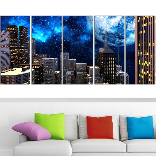 Design Art 'Abstract City at Night' 60 x 28-inch 5-panel Contemporary Canvas Art Print