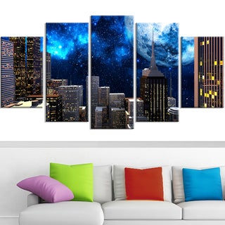 Design Art 'Abstract City at Night' 60 x 32-inch 5-panel Contemporary Canvas Art Print