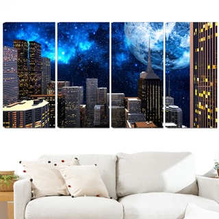 Design Art 'Abstract City at Night' 48 x 28-inch 4-panel Contemporary Canvas Art Print