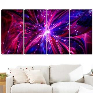 Design Art 'Pink and Purple Dreams Come True' 48 x 28-inch 4-panel Contemporary Canvas Art Print