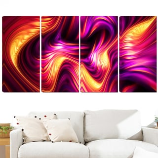 Design Art 'Pink and Orange Fluidity' 48 x 28-inch 4-panel Contemporary Canvas Art Print