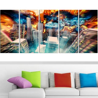 Design Art 'Abstract City at Sunrise' 60 x 28-inch 5-panel Contemporary Canvas Art Print