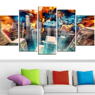Design Art 'Abstract City at Sunrise' 60 x 32-inch 5-panel Contemporary Canvas Art Print