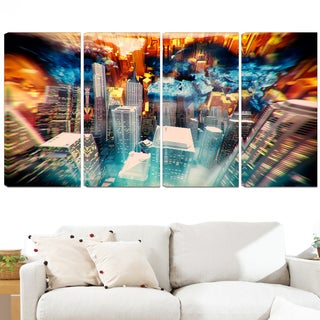 Design Art 'Abstract City at Sunrise' 48 x 28-inch 4-panel Contemporary Canvas Art Print