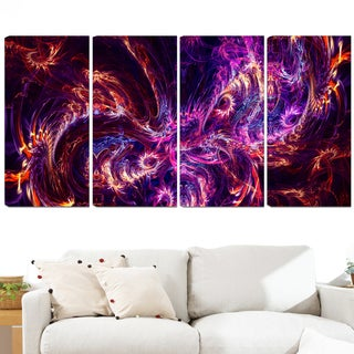 Design Art 'Abstract Tidal Wave at Night' 48 x 28-inch 4-panel Contemporary Canvas Art Print