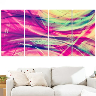Design Art 'Pink and Yellow Vintage Abstract' 48 x 28-inch 4-panel Contemporary Canvas Art Print