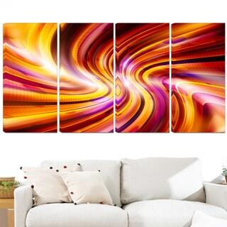 Design Art 'Warm Rainbow' 48 x 28-inch 4-panel Abstract Contemporary Canvas Art Print