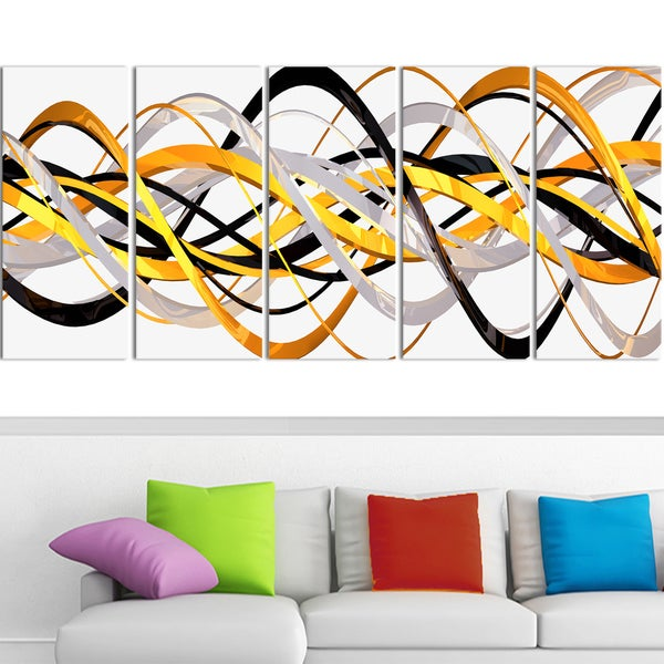 Design Art 'Gold and Silver Helix' 60 x 28-inch 5-panel Modern Canvas Art Print