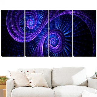 Design Art 'Royal Purple & Blue Dream' 48 x 28-inch 4-panel Modern Canvas Art Print