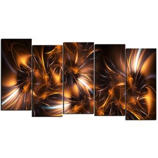 Design Art 'Silver and Gold Stars' 60 x 32-inch 5-panel Modern Canvas Art Print