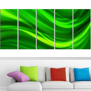 Design Art 'Green Laser' 60 x 28-inch 5-panel Modern Canvas Art Print
