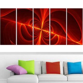 Design Art 'Red Laser' 60 x 28-inch 5-panel Modern Canvas Art Print