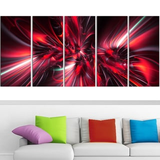 Design Art 'Red Implosion' 60 x 28-inch 5-panel Modern Canvas Art Print