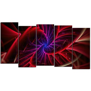Design Art 'Purple & Red Entanglement' 60 x 32-inch 5-panel Abstract Canvas Art Print