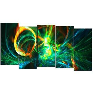 Design Art 'Fire Green' 60 x 32-inch 5-panel Abstract Canvas Art Print