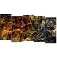 Design Art 'Red VS Blue' 60 x 32-inch 5-panel Abstract Canvas Art Print - Blue/Red