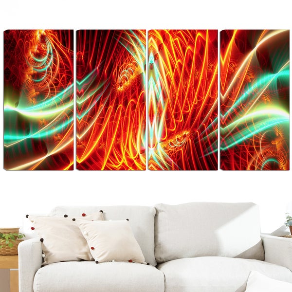 Design Art 'Light Show' 48 x 28-inch 4-panel Abstract Canvas Art Print
