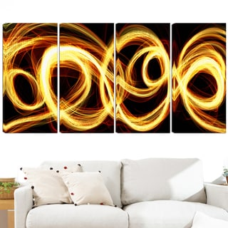 Design Art 'Gold Shock' 48 x 28-inch 4-panel Abstract Canvas Art Print