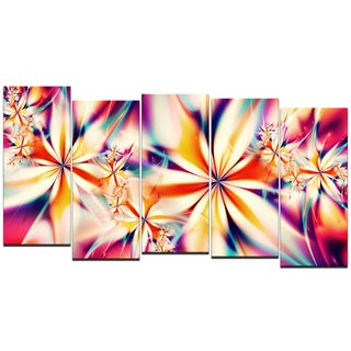 Design Art 'Crystalize Pink' 60 x 32-inch 5-panel Abstract Canvas Art Print