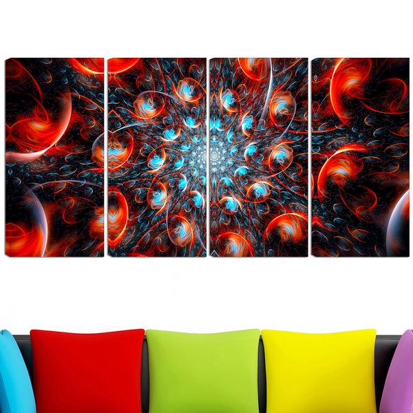 Design Art 'Break Out Blue and Red' 48 x 28-inch 4-panel Canvas Art Print