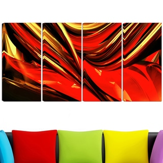 Design Art 'Fire Lines' 48 x 28-inch 4-panel Red Abstract Canvas Art Print
