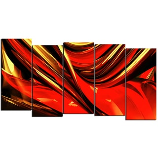 Design Art 'Fire Lines' 60 x 32-inch 5-panel Red Abstract Canvas Art Print