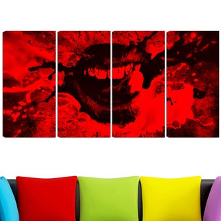 Design Art 'Speak Out Red Lips' 48 x 28-inch 4-panel Canvas Art Print