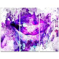 Design Art 'Purple Lips' 36 x 28-inch 3-panel Sensual Canvas Art Print