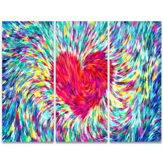 Design Art 'Pastel Heart' 36 x 28-inch 3-panel Sensual Canvas Art Print