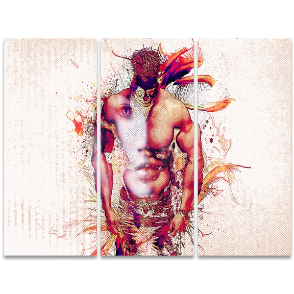 Design Art 'In My Heart' 36 x 28-inch 3-panel Sensual Canvas Art Print